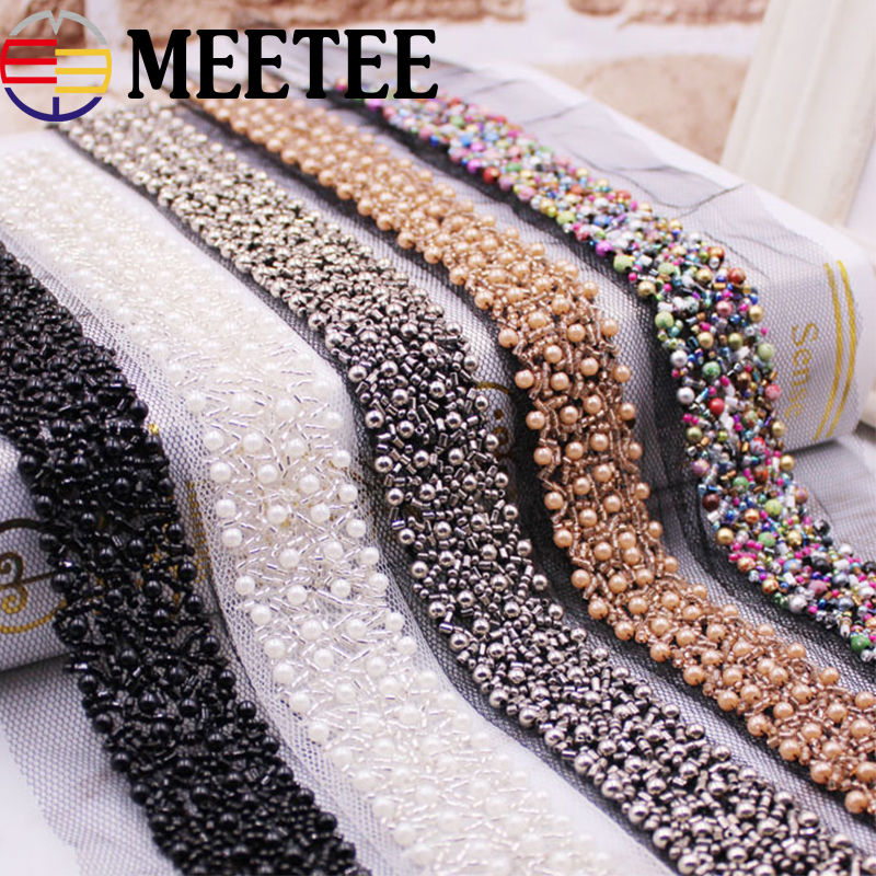 1Pack(2yards) 3cm Pearl Beaded Lace Trim Mesh Sequins Lace Ribbon Fabric Weding Dress Collar Sleeve Lace Applique DIY Crafts