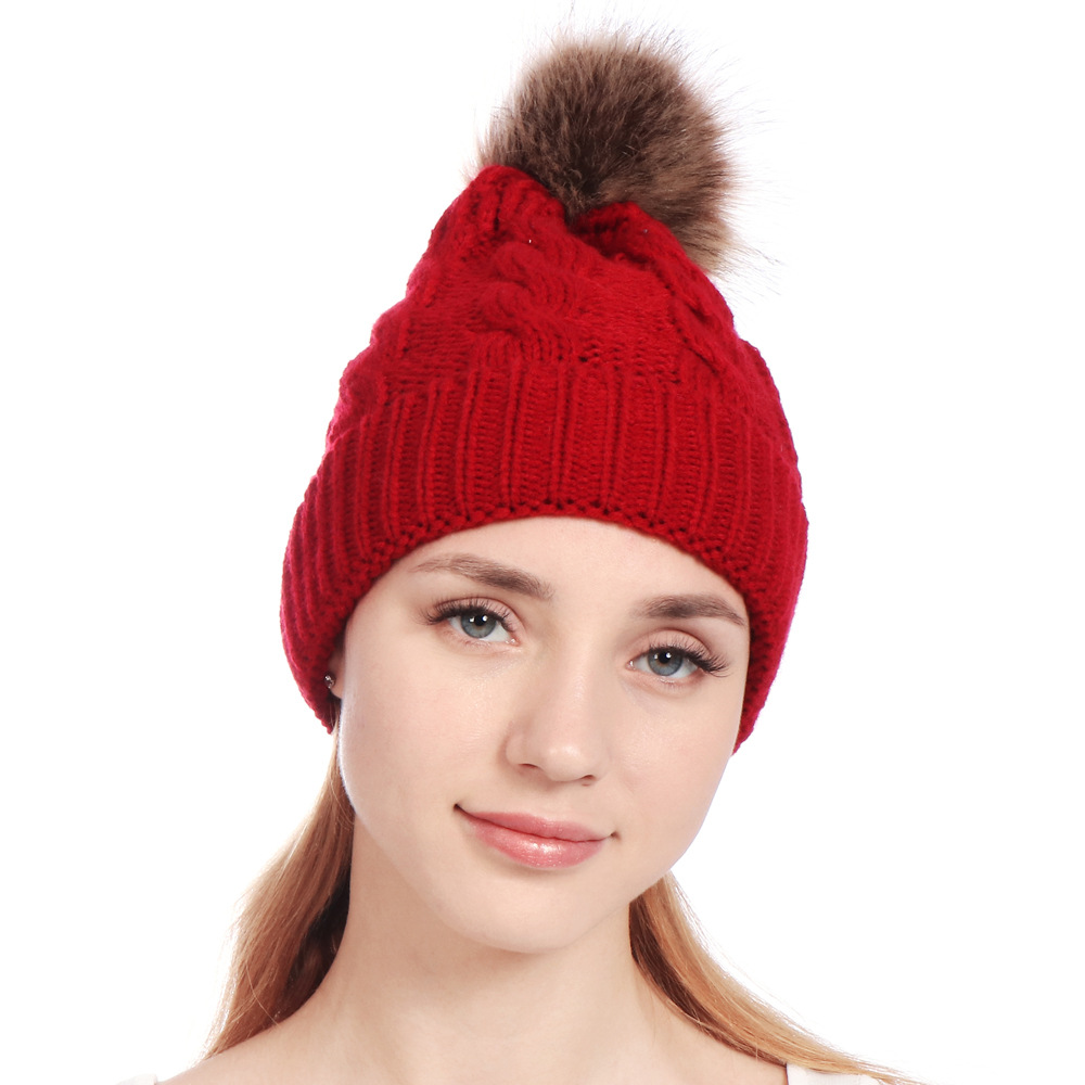Curling Hem Twist Knitted Solid Women   Skullies     Beanies   Women Winter   Beanie   Fashion Large Pom Pom Hat   Beanies