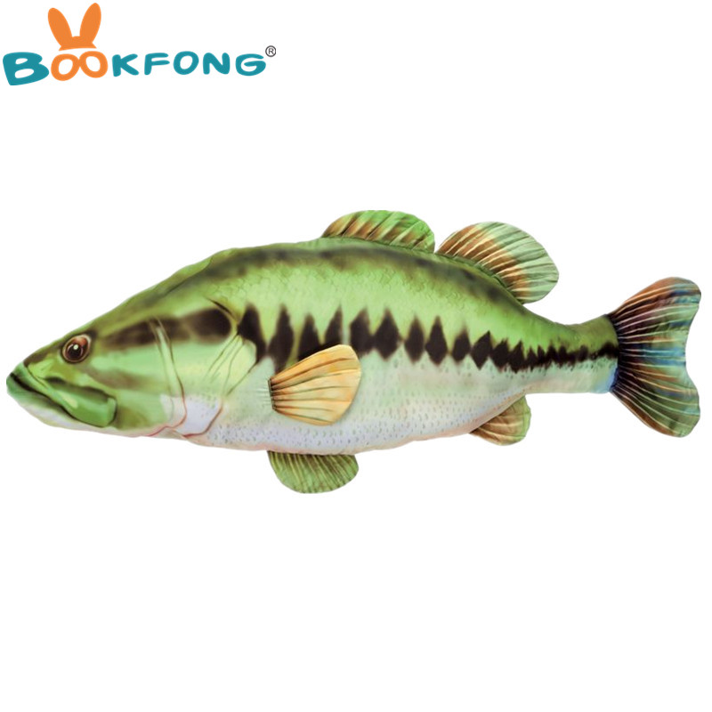 120cm Big Bass Fish Plush Toy Real Life Giant Fish Stuffed Bass Pillow Doll for Kids Children Toys Christmas Gift huge plush carp fish toy simulation carp lucky fish doll gift about 120cm