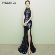 SVKSBEVS 2019 Crystal Halter Sequined Split Mermaid Long Dresses Party Off The Shoulder Hollow Out Backless Maxi Dress