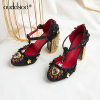 ODS 2019 Fashion Woman Hollow out Square heel Cross strap Summer High heel Sandals Red Blue Embroidery Super Large Size 42 43