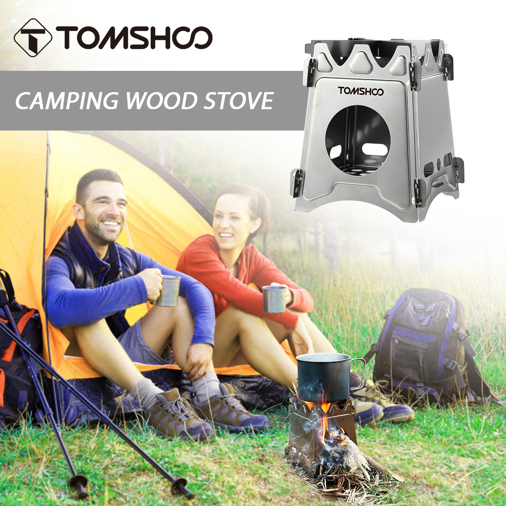 TOMSHOO Foldable Wood Stove Portable Lightweight Wood Burning Backpacking Stainless Steel Stove  for Outdoor Picnic Cooking