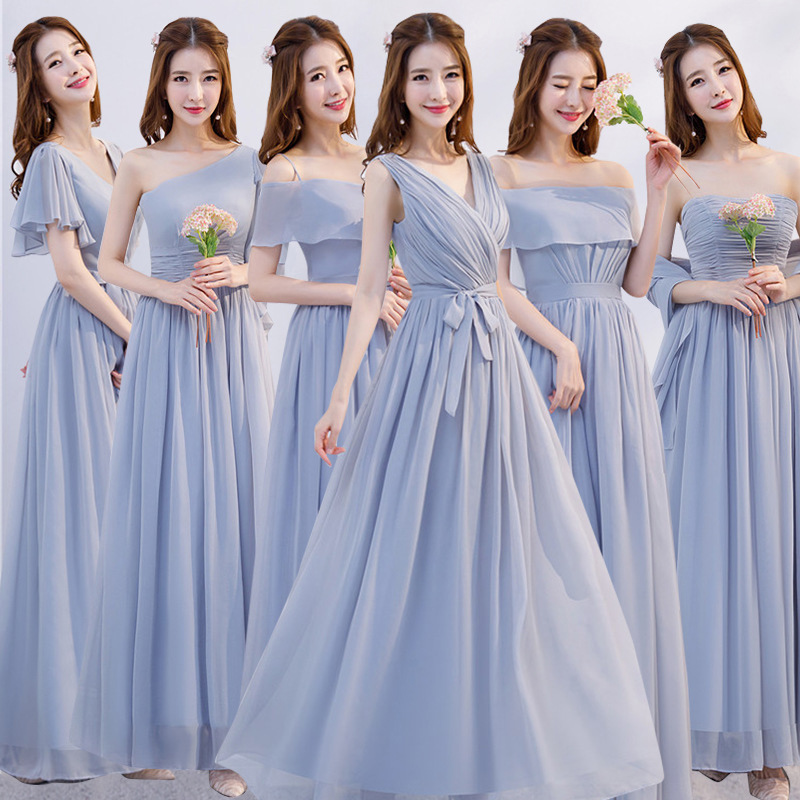 Bridesmaid Elegant Chiffon Long Dresses Pretty Formal Wedding Maid Of Honor Dresses Fashion Women Formal Party Gowns