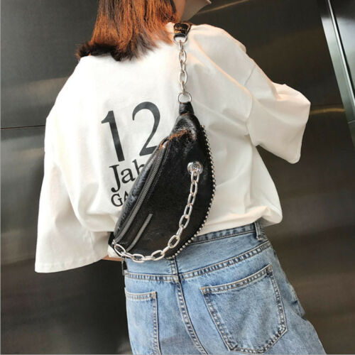 93f5e357f92 US $3.09 9% OFF|Fashion Waist Fanny Pack Women PU Leather Belt Zipper Waist  Bag Chest Tote Purse Black Gold Pink Silver-in Waist Packs from Luggage &  ...