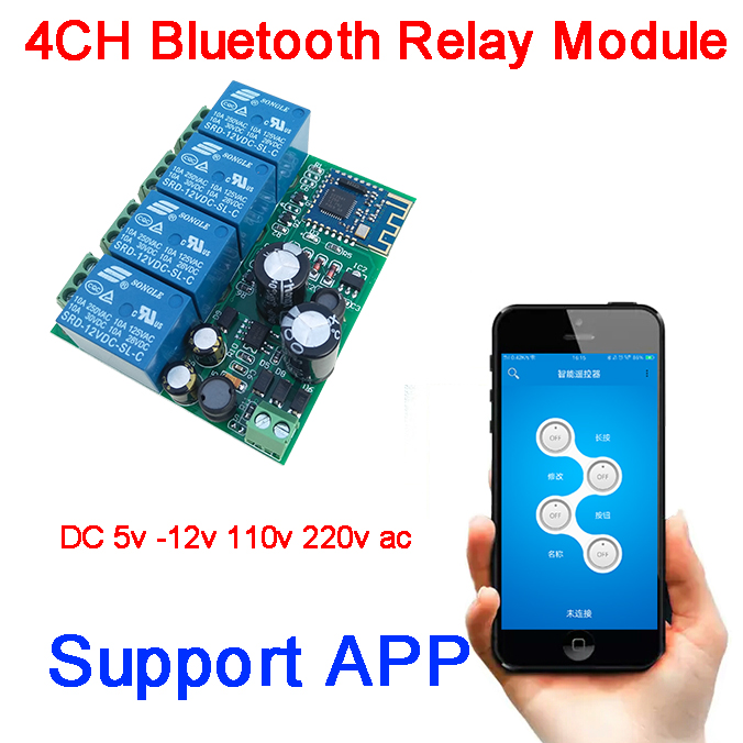 DYKB Bluetooth APP AC/DC 5v <font><b>12V</b></font>-80v 110v 220v <font><b>4CH</b></font> <font><b>Relay</b></font> Switch <font><b>module</b></font> for Mobile Phone APP IOS, Android Remote Lock motor drive image
