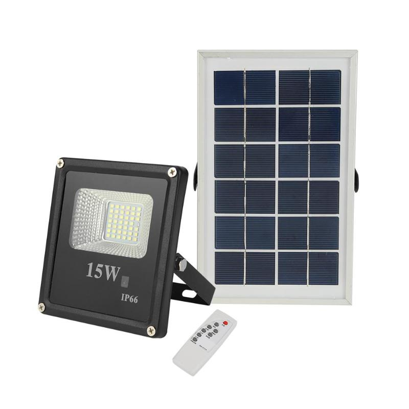 15W Solar Wall Lights 41LED Floodlight Outdoor Spotlight Garden Decor Lamp Remote Control Solar Panel Garden Street Walls Light