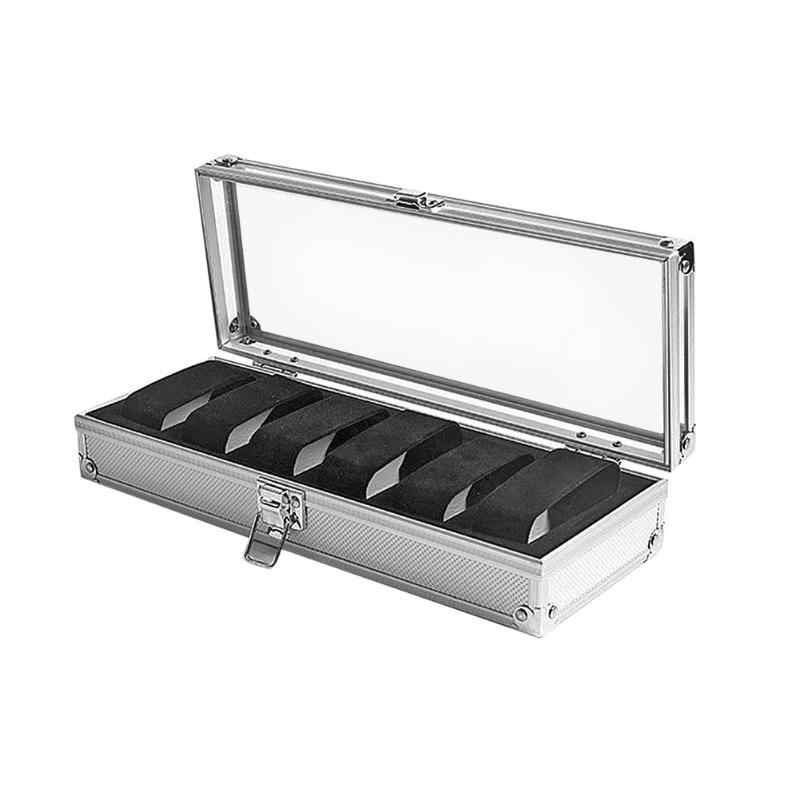 6 Grids Aluminum Watch Storage Box Case Holder for Watches Jewelry Display
