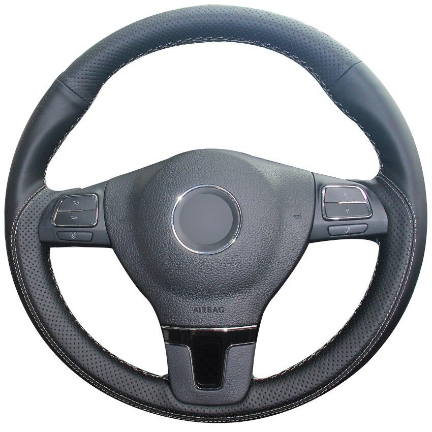 Housse de volant de voiture en cuir naturel noir pour Volkswagen VW Gol Tiguan Passat B7 Passat CC Touran Jetta Mk6