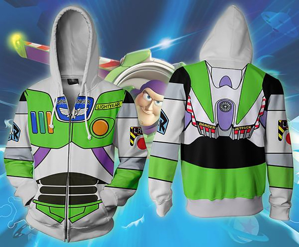 2019 New Autumn Winter 3D Print Toy Story Buzz Lightyear Zip Up Hoodie Jacket Clothing X Task Force