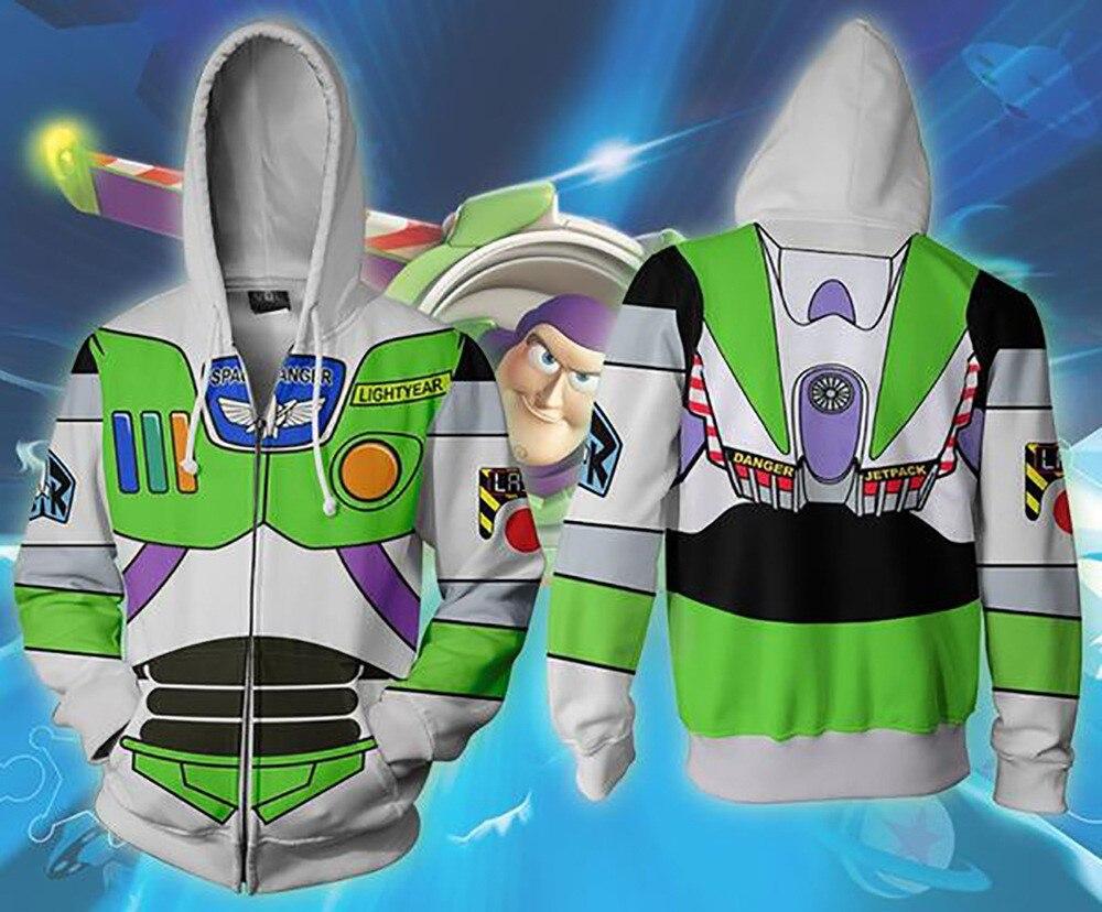 2019 novo outono inverno impressão 3d brinquedo história buzz lightyear zip up hoodie jaqueta roupas x força tarefa