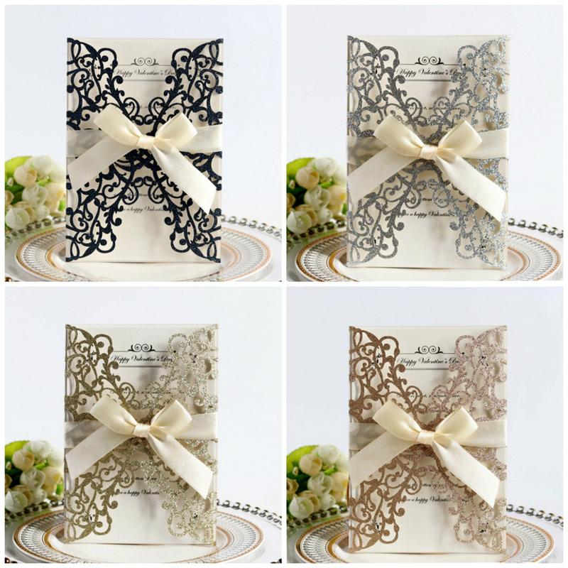 10PCS Bowknot Glitter Faire Part Mariage European Style Laser Cut Wedding  Invitations Holiday Greeting Card Cover