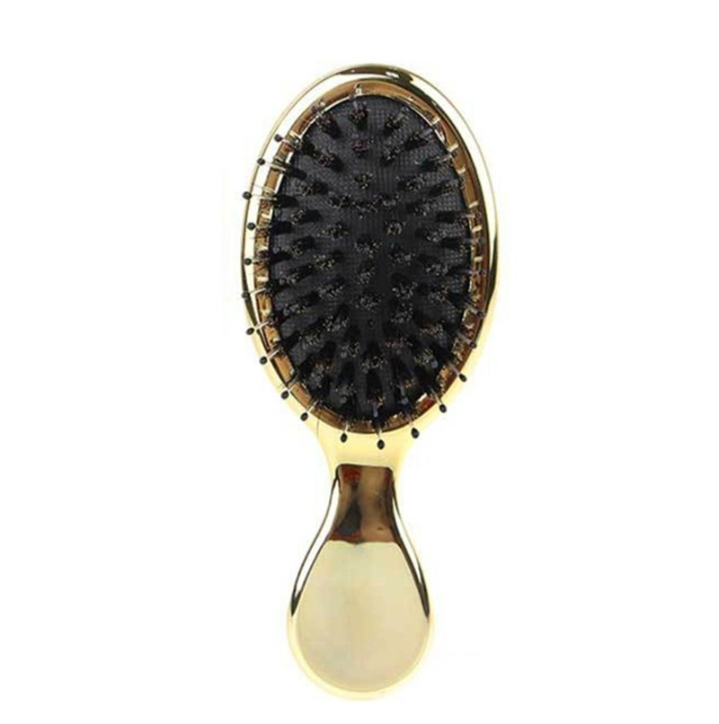 Natural Boar Bristle Hairbrush Mini Handle Massage Comb Anti-static Hair Scalp Paddle Brushes barber Hair Brush Styling Tool