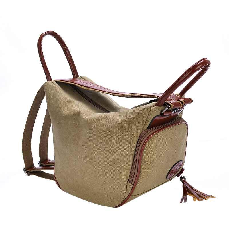 Image 4 - Fashion Canvas Backpack Women Leisure Back Pack Ladies Knapsack Casual Backbags for School Teenage Classic Bagpack With TasselBackpacks   -