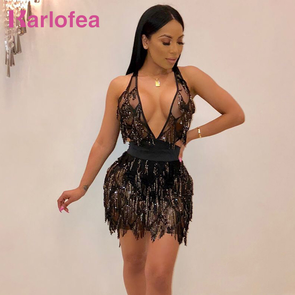 Karlofea Women Sexy Deep V Neck Club Night Party Wear Vestidos Shiny Sequin  Fringe Backless Lace Up New Sheer Mesh Mini Dresses cb31c60cdca1