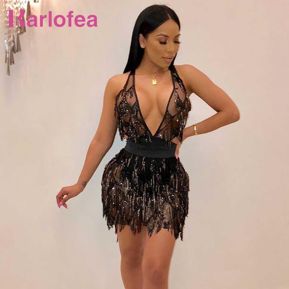 Karlofea Women Sexy Deep V Neck Club Night Party Wear Vestidos Shiny Sequin  Fringe Backless Lace 776aa83577ea