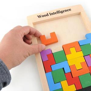 Image 4 - Tangram beyin bulmaca oyuncaklar renkli ahşap oyuncaklar Tetris oyunu okul öncesi Magination entelektüel eğitici oyuncaklar çocuk hediye komik yeni