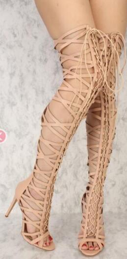 Sexy Dame Sandalen Die Große Größe Gold Kreuz Stiefel Lange Frauen Knie Gladiator bis Mode 2019 krawatte Neue Spitze Über pxwzqS5CZ