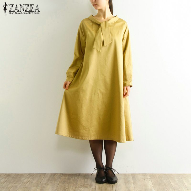 Plus Size Casual Bow Collar Dress Women Sundress 2019 ZANZEA Vintage Linen Midi Dresses Female Long Sleeve Party Vestidos Kaftan
