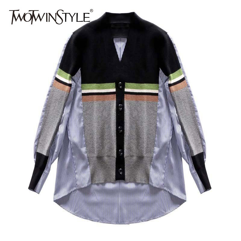 TWOTWINSTYLE Irregular Womens Shirts Blouse V Neck Long Sleeve Patchwork Knitted Top Female Spring 2019 Casual Fashion Oversized