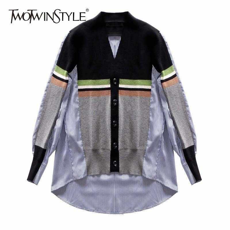 TWOTWINSTYLE camisas irregulares para mujer blusa cuello en V manga larga Patchwork tejido Top femenino primavera 2019 Casual moda de gran tamaño