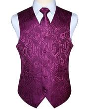 Erkekler yelek yelek parti düğün mendil kravat klasik Paisley ekose çiçek jakarlı cep kare kravat takım elbise seti