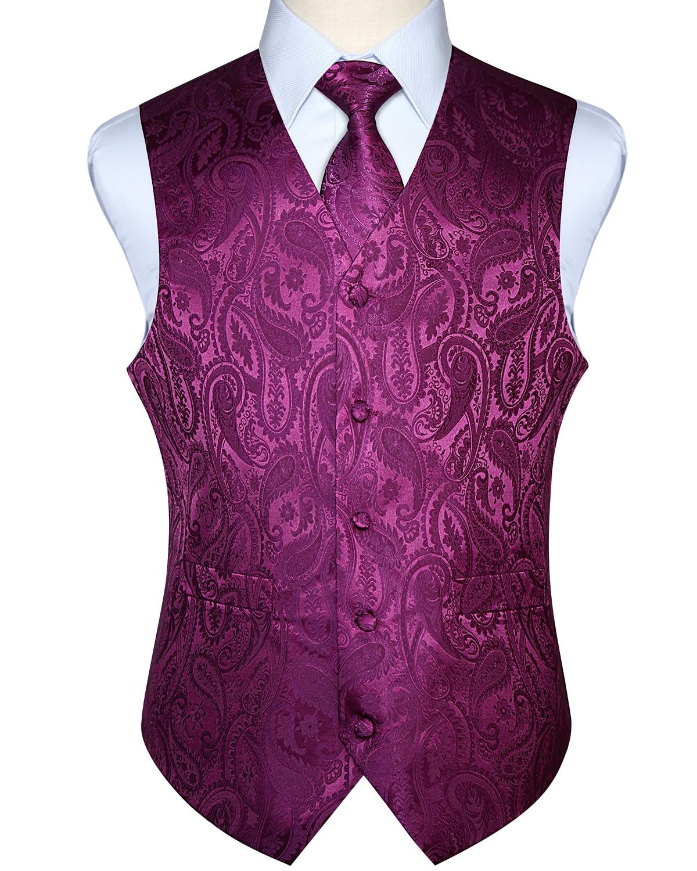 Hommes gilet gilet fête mariage mouchoir cravate classique Paisley Plaid Floral Jacquard poche carré cravate costume ensemble