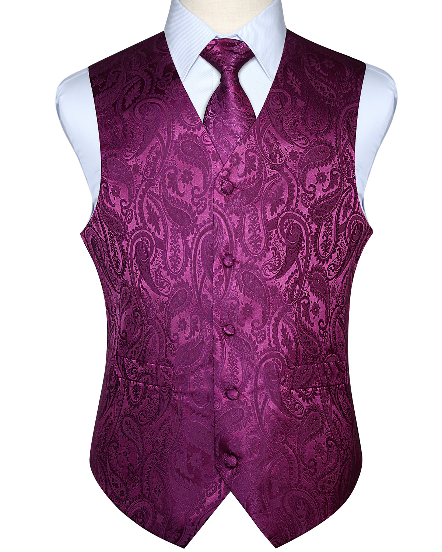Men Waistcoat Vest Party Wedding Handkerchief Necktie Classic Paisley Plaid Floral Jacquard Pocket Square Tie Suit Set