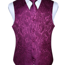 HISDERN Men Waistcoat Vest Party Wedding Handkerchief Necktie Classic Paisley Plaid