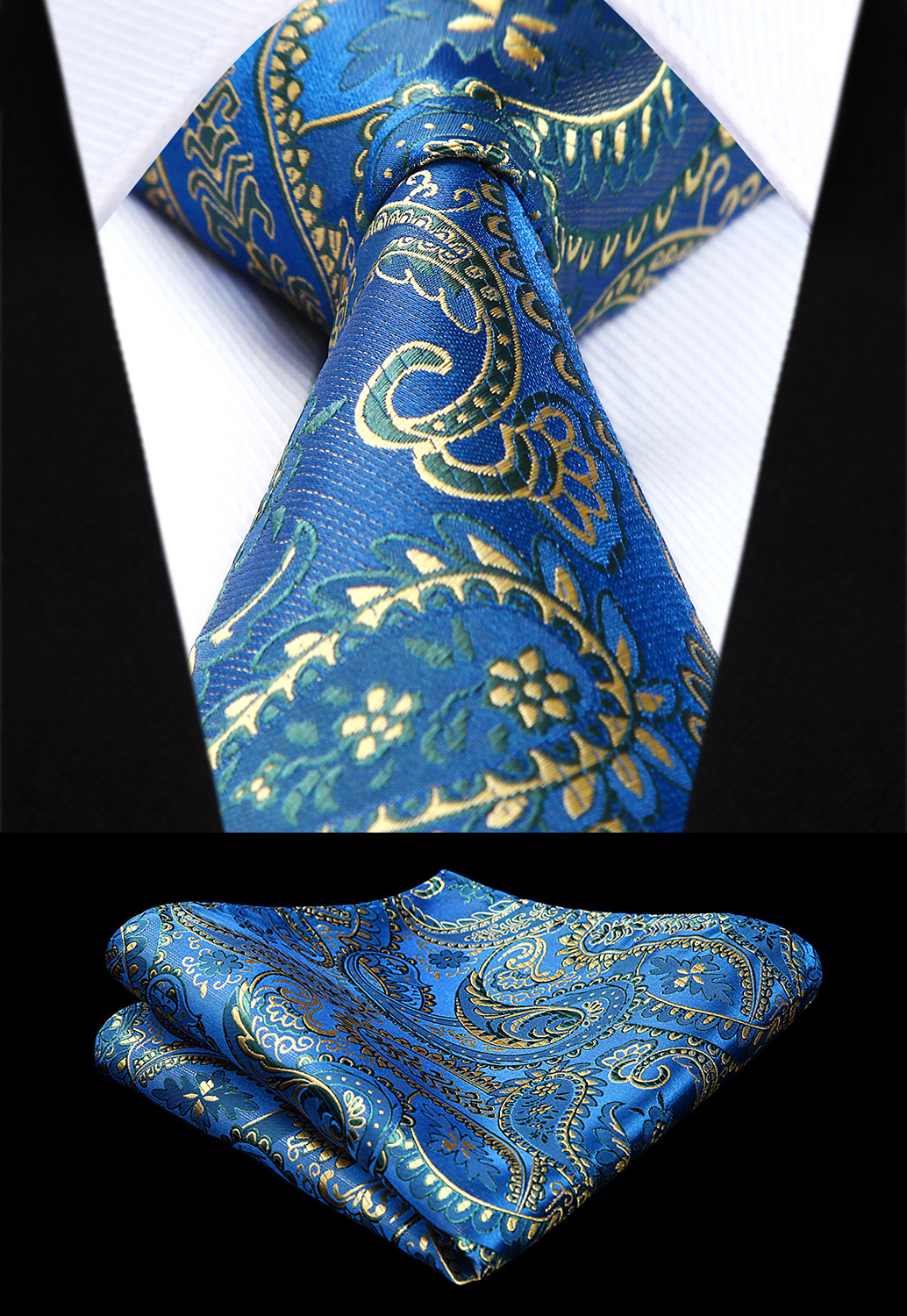 New Floral Paisley Mens Tie Blue Woven Silk Necktie Handkerchief Set TF4015B38S Party Wedding Classic Fashion Pocket Square Tie