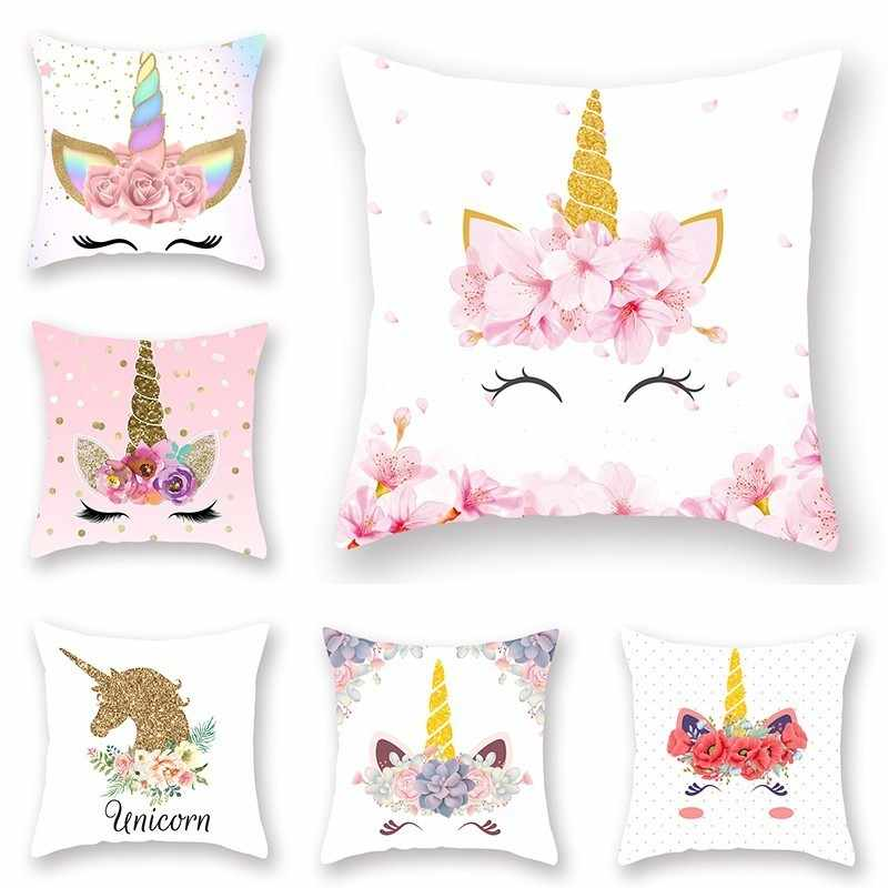 New Unicorn Printed Casual Cushion Cover Square Polyester Home Decor Pillow Case Couch Chair Rest Pillow Case
