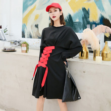 Womens fashion 2019 spring new arrival long-sleeved loose long straps design batwing sleeve dress women 466