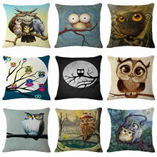 HGLEGYW 18'' Owl Pillow Case Throw Pillowcase Cotton Linen Printed Pillow Covers For Office Home