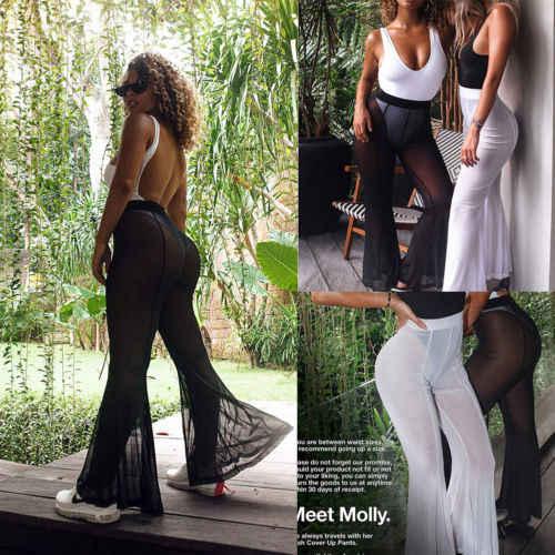 d1e0513fca1a Womens Beach Mesh Sheer Bikini Cover Up Swimwear Transparent Long Pant  Trousers Ladies See Through Flare