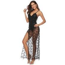 MUXU fashion black sequin dress clothes sexy transparent long dresses woman party night vestidos robe femme kleider frocks