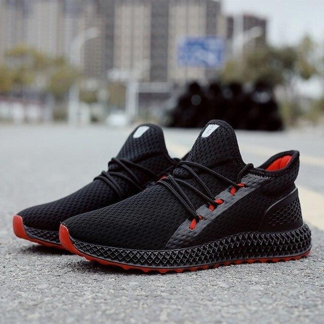 2019 Bahar sonbahar yeni stil Nefes Rahat Çizmeler Erkek Sneakers Yüksek top kaymaz Moda erkek ayakkabısı Zapatillas de deporte