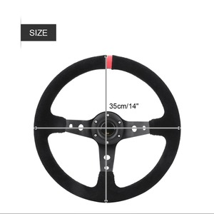 35 см/14 дюймов 6-болты авто гоночный руль с рожком Глубокий Кукуруза дрейфующий руль Кожа Stormcar Универсальный