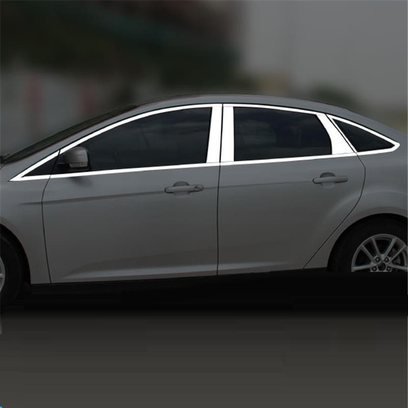 Ventana exterior de promover cromo automovil trim estilo de coche cubre decoración accesorio 12 13 14 15 17 para Ford Focus