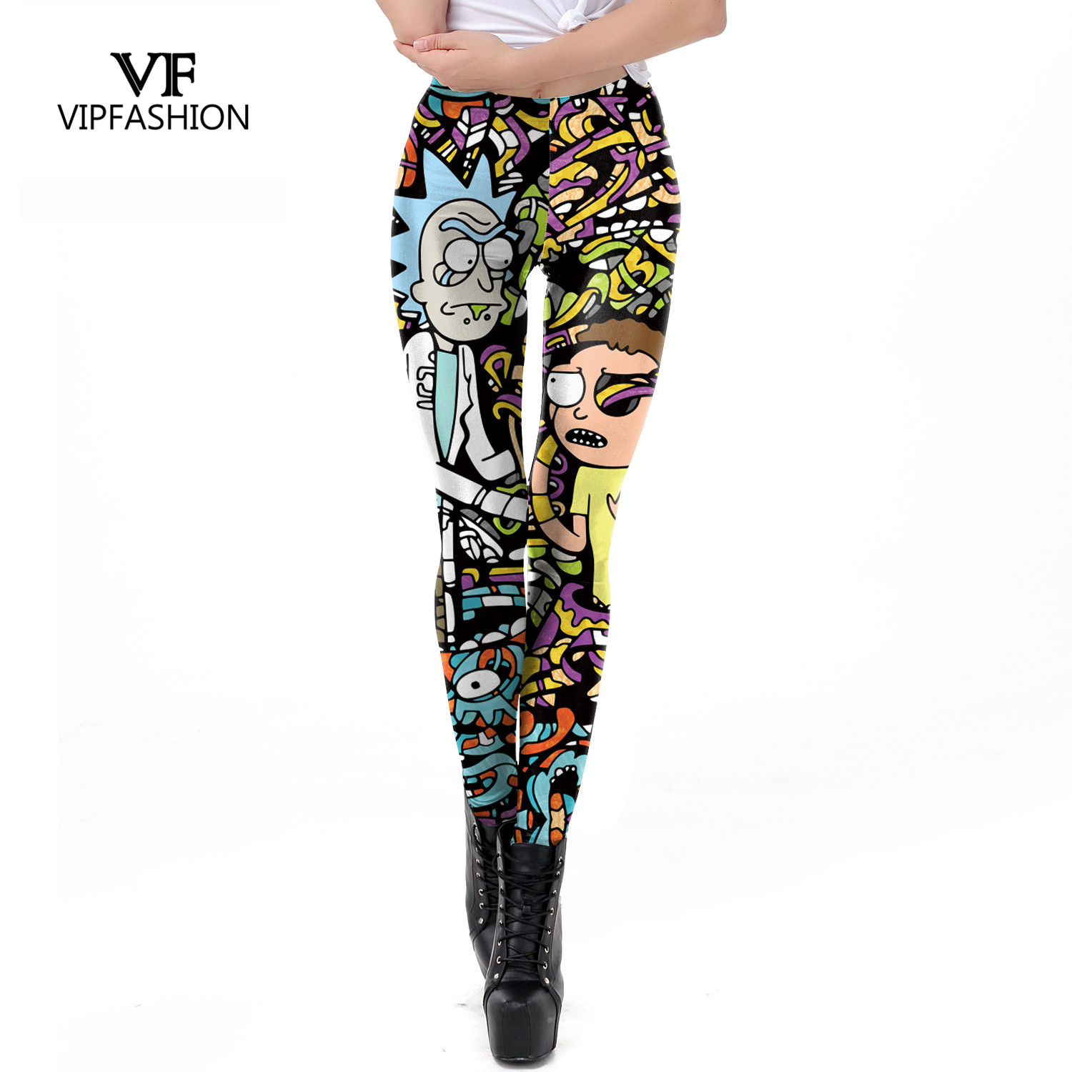 VIP FASHION 2019 New Body Building Pants Women Rick And Morty Printed Leggings Workout Cartoon Leggin