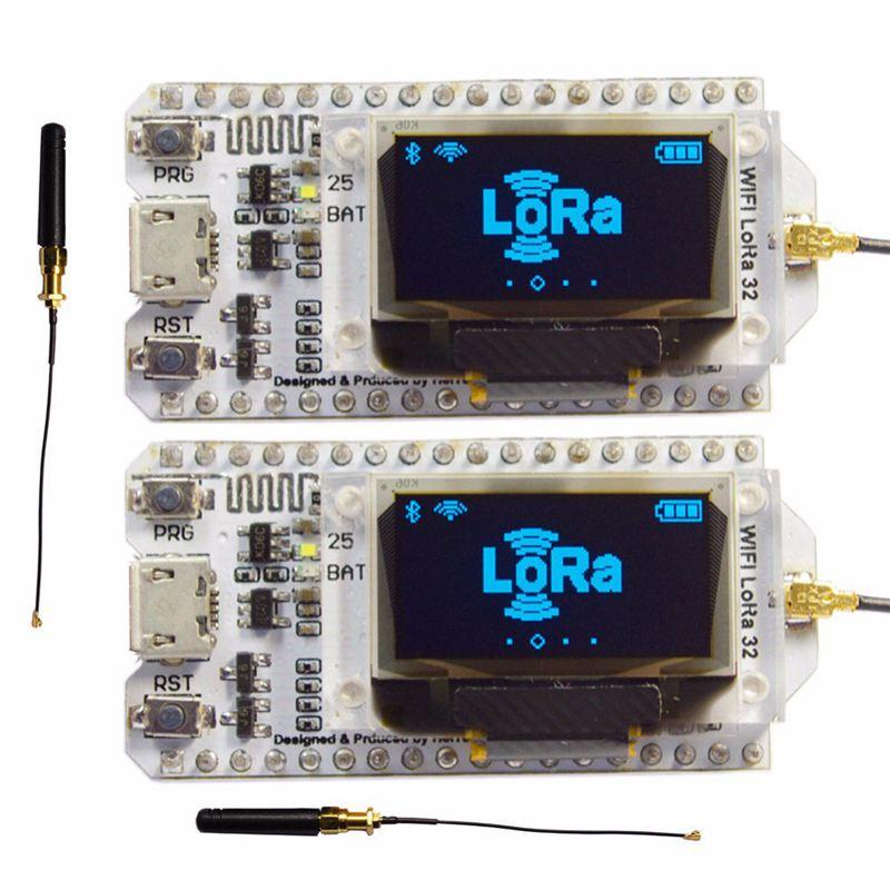2Pcs 868Mhz 915Mhz Sx1276 Esp32 Lora 0.96 Inch Blue Oled Display Bluetooth Wifi Lora Kit 32 Module Iot Development Board