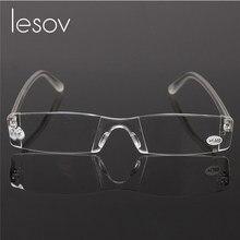 548243b218 Lesov transparente sin montura gafas de lectura resina lente de los hombres  y las mujeres de pluma portátil tubo la presbicia ga.