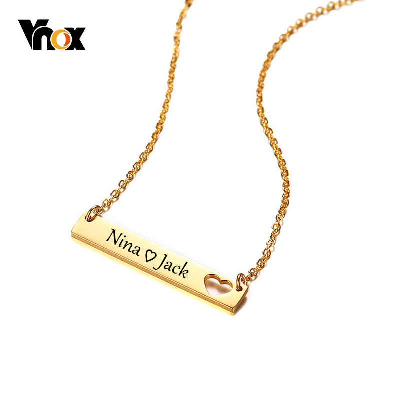 Vnox Free Engraving Custom Women Choker Hollow Heart Bar Stainless Steel Elegant Female Lady Party Jewelry Chic Necklace