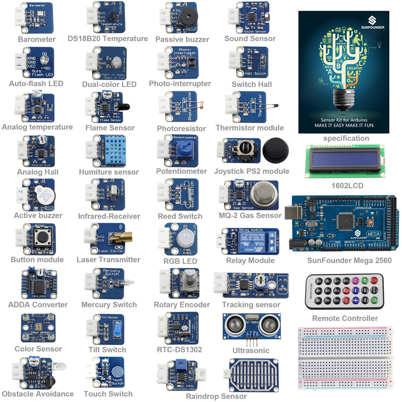 SunFounder 37 modules Mega 2560 Capteur Kit V2.0 pour Arduino UNO R3 Mega2560 Mega328 Nano