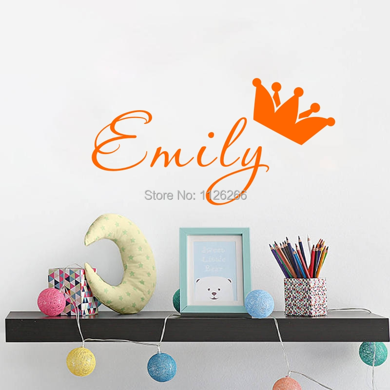 Custom Any Kids Name Crown DIY Wall Sticker Кішкентай Tots үшін Art Decals Room Decor Екі Өлшем