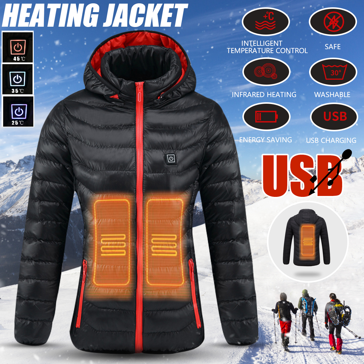 Women Winter USB Heating Jacket Heated Safety Jacket Hooded Work Coats Adjustable Temperature Control Safety Clothing S/M/L/XL sq9 mini sport motion dv camera hd 1080p car dvr dash cam voice video recorder digital camcorder black infrared night vision cam