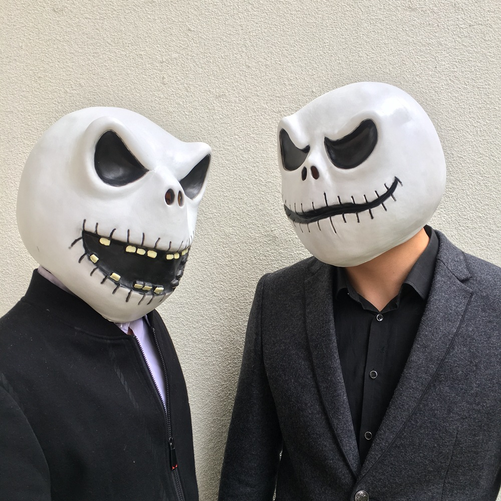 Wellcomics The Nightmare Before Christmas Jack Skellington Full Head Mask Solid Latex Helmet Fancy Ball Cosplay Costume Prop Hot