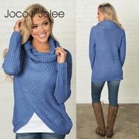 dbc3efcd3f Jocoo Jolee Women Winter Turtleneck Sweater Long Sleeve Scarf Collar Solid  Warm Knitted Sweaters Female Turtleneck