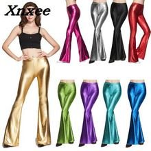 Faux leather leggings women PU bell-bottom pants high elastic shiny casual stretch flared trousers Xnxee