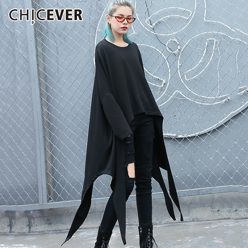 CHCIEVER Autumn Female T Shirts For Women Top Female Hem Irregular Loose Big Size Casual T shirt Clothes Fashion New 2019