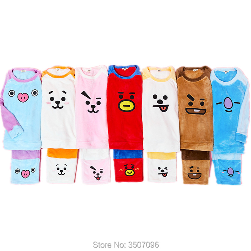 KPOP Bangtan Boys Sleepwear Soft Flannel Pajamas Set Cartoon BT21 BTS Hoodie Kawaii TATA Jungkook Unisex Winter Costume dropshi