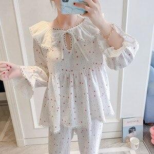 Image 1 - 2019 Spring Autumn Women Cute Pajamas Sets With Pants Cotton Sleepwear Cute Lace V Neck Double Gauze Nightwear Pijama